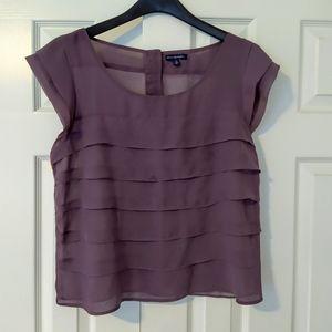 American Eagle Purple Chiffon Shirt Blouse Top